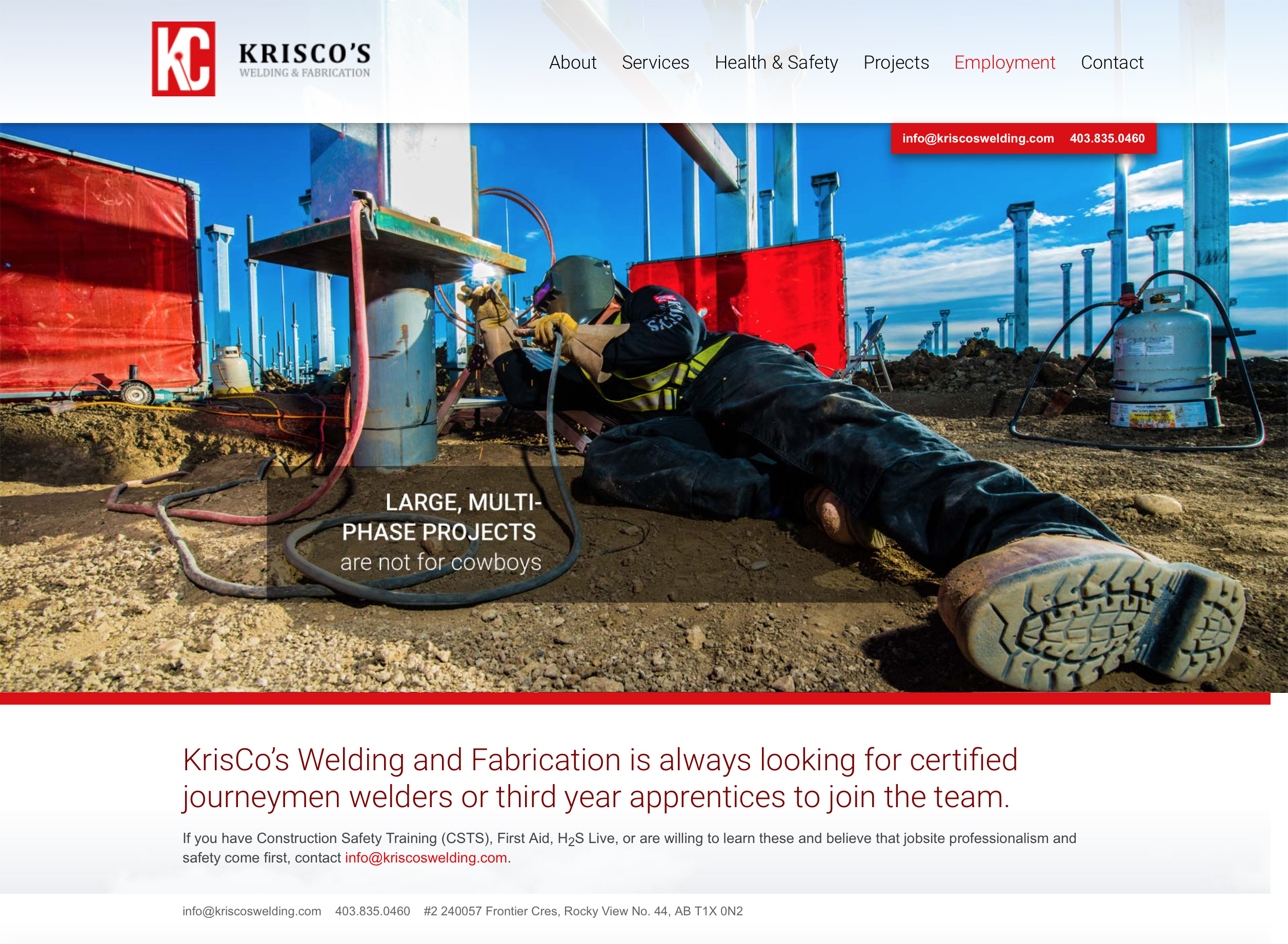 Writing & web development for Krisco's Welding