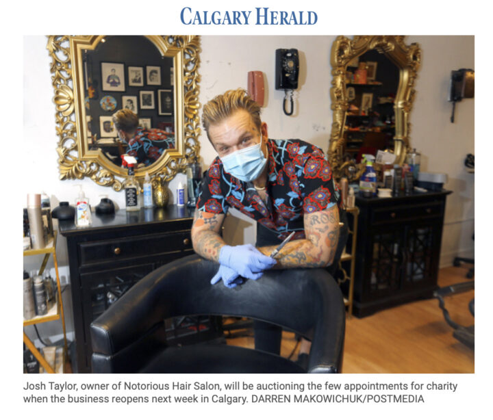 Notorious Hair Charity Auction Featured in Calgary Herald